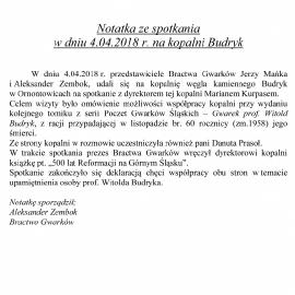 Spotkanie na KWK Budryk